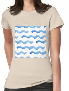 Abstract watercolor blue wave pattern, water texture sketch background. Drawing by hand illustration Womens Fitted T-Shirt