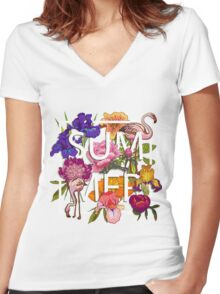 Floral and birds flamingos summer  Women's Fitted V-Neck T-Shirt