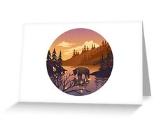 Bear - river forest landscape in sunset Greeting Card
