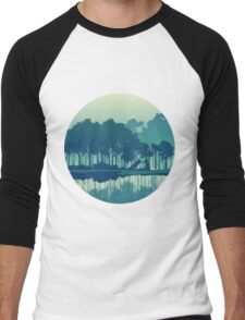 Wolves couple in forest and river landscape - cool blues Men's Baseball ¾ T-Shirt
