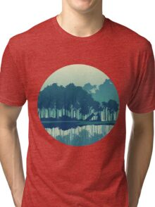Wolves couple in forest and river landscape - cool blues Tri-blend T-Shirt