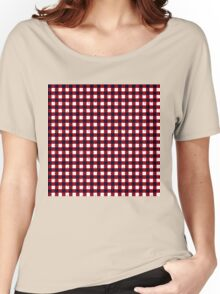 Gingham Red Black and White Pattern Women's Relaxed Fit T-Shirt