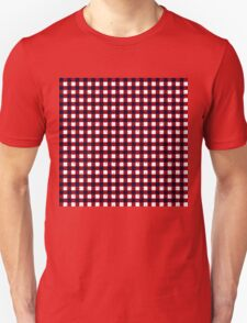 Gingham Red Black and White Pattern T-Shirt