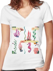 Sea pattern Women's Fitted V-Neck T-Shirt
