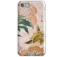Vintage famous art - Hokusai Katsushika - Peony And Canary iPhone Case/Skin