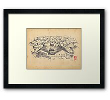 historical oriental drawing Framed Print