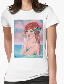 Aednat Mermaid fantasy portrait by Renee Lavoie Womens Fitted T-Shirt