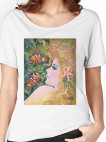 Innocent waters mrmaid with clownfish by Renee Lavoie Women's Relaxed Fit T-Shirt