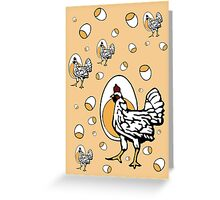 Retro Roseanne Chickens Greeting Card