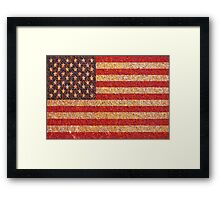 USA America Flag Rusty Old Texture Framed Print