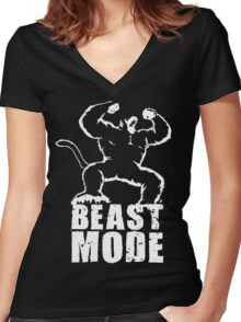 BEAST MODE (Ozaru) Women's Fitted V-Neck T-Shirt