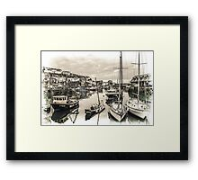 Boats in a Village Harbour - Cornwall Framed Print