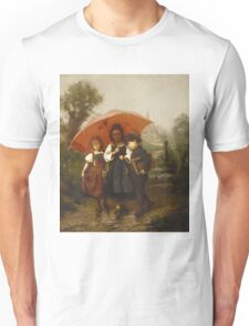 Vintage famous art - Henry Mosler - Children Under A Red Umbrella Unisex T-Shirt