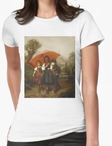 Vintage famous art - Henry Mosler - Children Under A Red Umbrella Womens Fitted T-Shirt