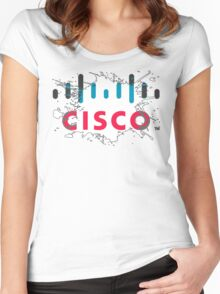 Cisco Logo White Black Glow Women's Fitted Scoop T-Shirt