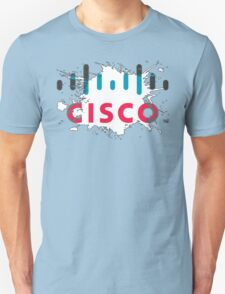 Cisco Logo White Black Glow Unisex T-Shirt