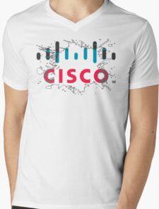 Cisco Logo White Black Glow Mens V-Neck T-Shirt