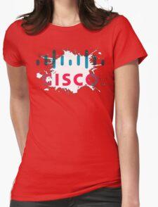 Cisco Logo White Black Glow Womens Fitted T-Shirt