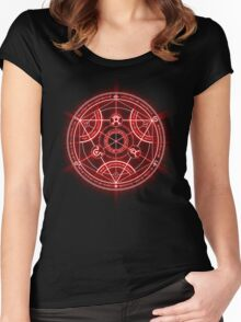 Human Transmutation Circle - Red Women's Fitted Scoop T-Shirt