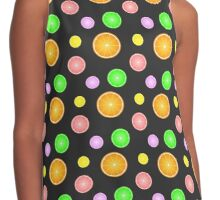 Orange, lemon, lime and grapefruit summer party pattern Contrast Tank