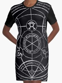 Human transmutation circle - chalk Graphic T-Shirt Dress