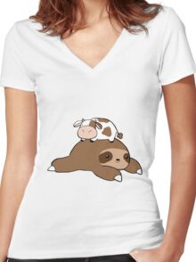 Sloth and Tiny Cow Women's Fitted V-Neck T-Shirt