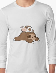 Sloth and Tiny Cow Long Sleeve T-Shirt