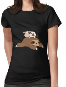 Sloth and Tiny Cow Womens Fitted T-Shirt
