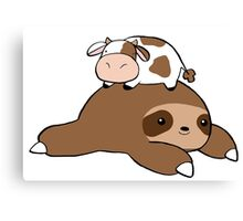 Sloth and Tiny Cow Canvas Print