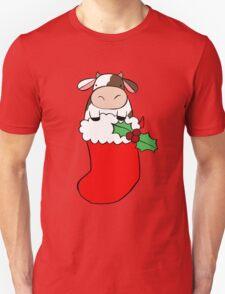 Christmas Stocking Cow Unisex T-Shirt