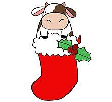 Christmas Stocking Cow Photographic Print