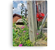 Hanging Red Withered Bucket  Canvas Print