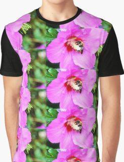 Bumble Bee Pollinating Pink Flower Graphic T-Shirt