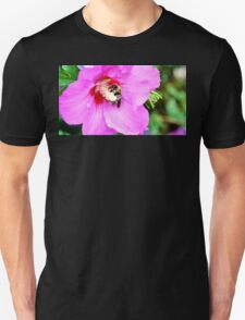 Bumble Bee Pollinating Pink Flower Unisex T-Shirt