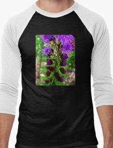 Bumble Bee and Purple Flower Men's Baseball ¾ T-Shirt
