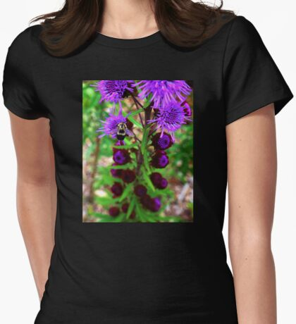Bumble Bee and Purple Flower Womens Fitted T-Shirt