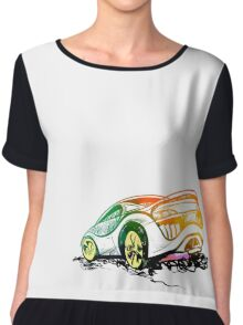 Speed sketch graffiti sport car in green and orange colors Chiffon Top