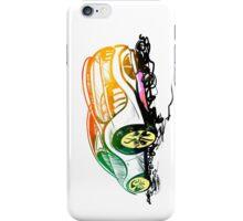Speed sketch graffiti sport car in green and orange colors iPhone Case/Skin