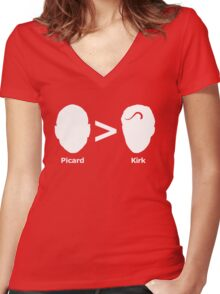 Picard > Kirk Women's Fitted V-Neck T-Shirt