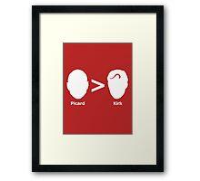 Picard > Kirk Framed Print