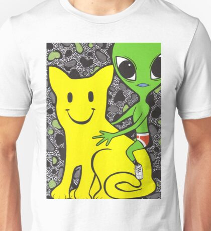 Smiley Face Cat and Alien Unisex T-Shirt