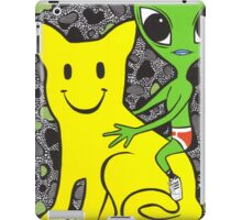 Smiley Face Cat and Alien iPad Case/Skin