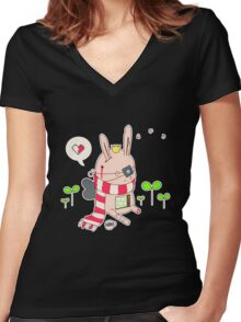 Bunny boy Women's Fitted V-Neck T-Shirt