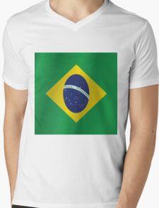 Brazil flag Mens V-Neck T-Shirt