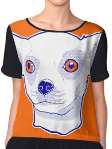 Chihuahua knows in orange - by D Johnson Chiffon Top