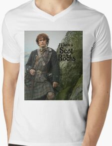 Outlander/ Jamie Fraser/Scot on the Rocks Mens V-Neck T-Shirt