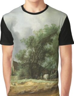 Vintage famous art - Hendrik Goltzius - Road In The Dunes With A Passenger Coach (After The Rain) 1631 Graphic T-Shirt