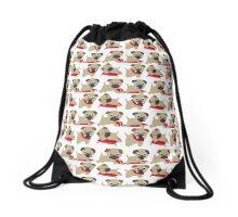 Playful Pug Puppies Drawstring Bag
