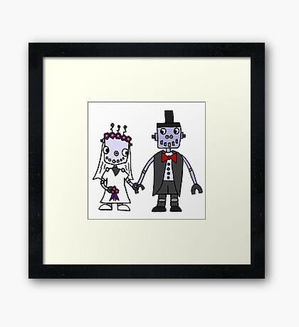 Cool Funky Robot Wedding Framed Print