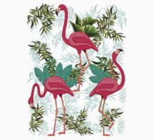 Pink Flamingos Exotic Birds Baby Tee